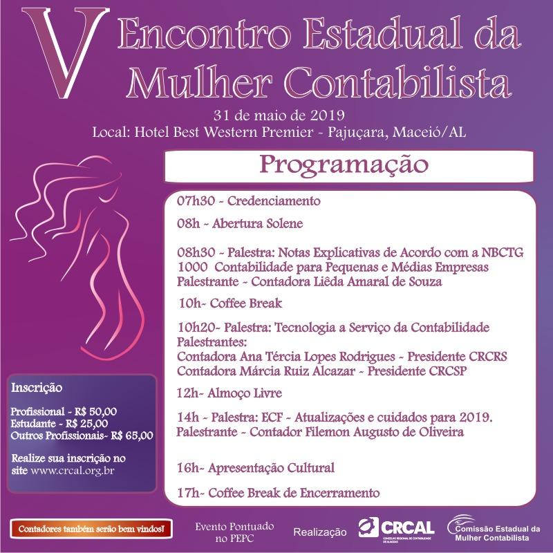 Últimas vagas para o V Encontro Estadual da Mulher Contabilista, que ocorre em 31 de maio
